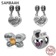 Sambaah Dangle Mother Daughter and Son Heart Charms 925 Sterling Silver Child Love Beads fit Pandora Family Bracelet