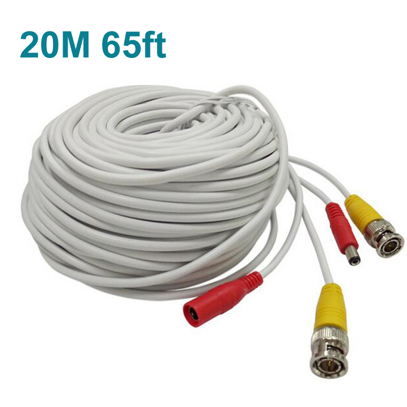 65FT 20M CCTV camera Cable BNC Video Power Coaxial Cable plug and Play Cable for Camera AHD DVR System CCTV accessories 6pcs lot coaxial cable rg59 cctv bnc connector bnc male cctv accessories for cctv video security system