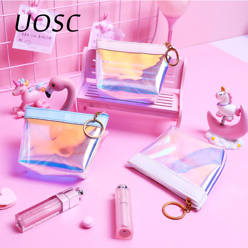 цена на UOSC Transparent Coin Purses Women Wallets Small Cute Card Holder Key Money Mini Bag For Girls Ladies Purse Fashion Change Pouch