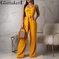 Glamaker Sexy sleeveless buttons belt black jumpsuit Women wide leg elegant long playsuit Summer office lady vintage overalls
