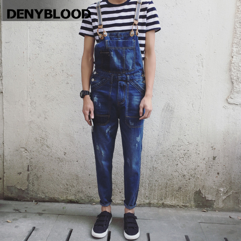 Denyblood Jeans Mens Denim Overalls Distressed Jeans Ripped Destroyed Patchwork Bib Pants Jumpsuit for Man Casual Pants 8101 купить