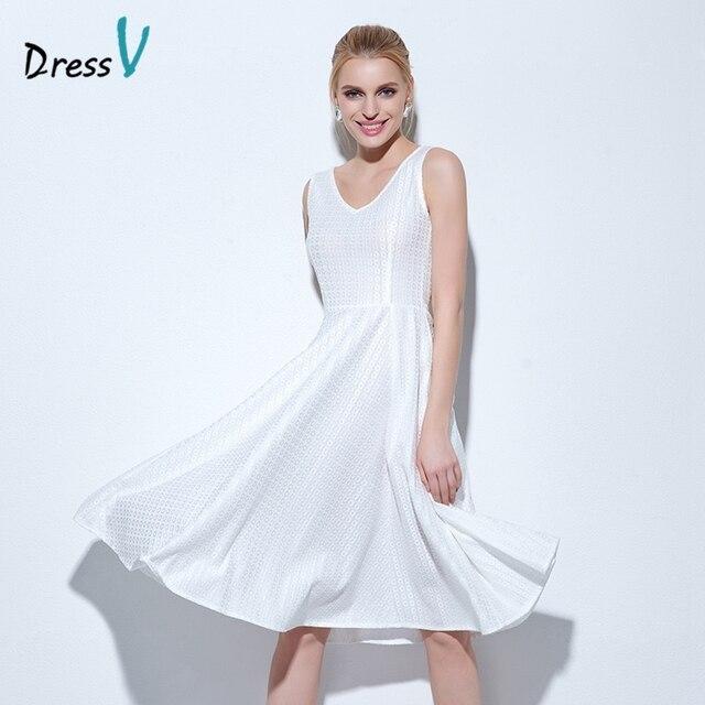 a1bec33d29d Dressv blanc genou-longueur robe de bal scoop cou A-ligne sans manches robe