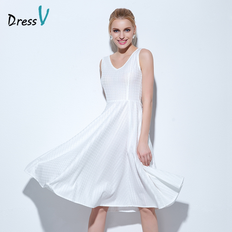 c6034778b7 Dressv white knee-length homecoming dress scoop neck A-line sleeveless  short cocktail dress homecoming dress graduation dress