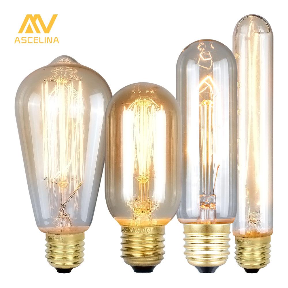 ASCELINA Edison Bulb Vintage Lamps Incandescent Bulbs Retro lamp Industrial Light bulb Decoration Home lighting E27 85-260V 40W
