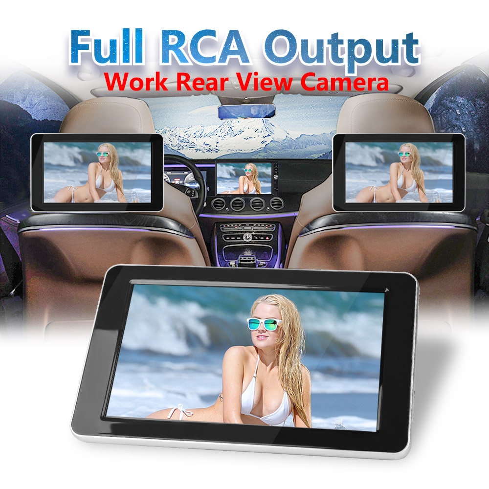 9 inch TFT Color LCD Headrest DVD Monitors 1024x600 HD input Radio AV Monitor for Rearview