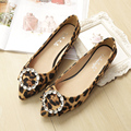 Free shipping new Leopard with diamond flat shoes pointed female flat shoes with rhinestones large size shoes scoop