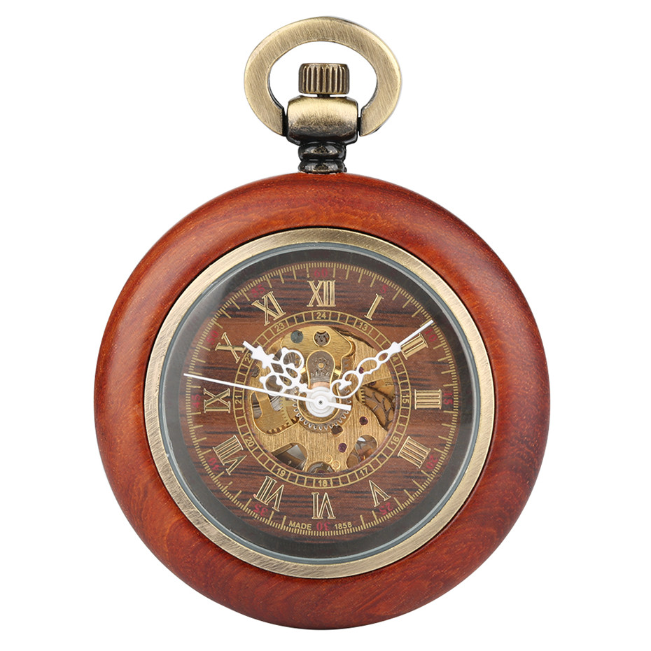 Vintage Red Wooden Case Mechanical Pocket Watch Chain Automatic Self-wind Watches Fob Open Face Unisex Clock Gifts For Men Women