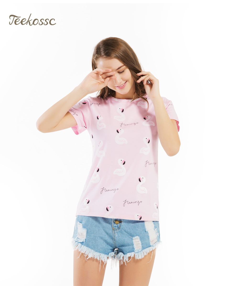Pink Cute Duct Cotton Women's T Shirts Summer New T-Shirt Harajuku Tops Women Tee Shirt  Short Sleeve O-Neck Cotton Tshirt Girls