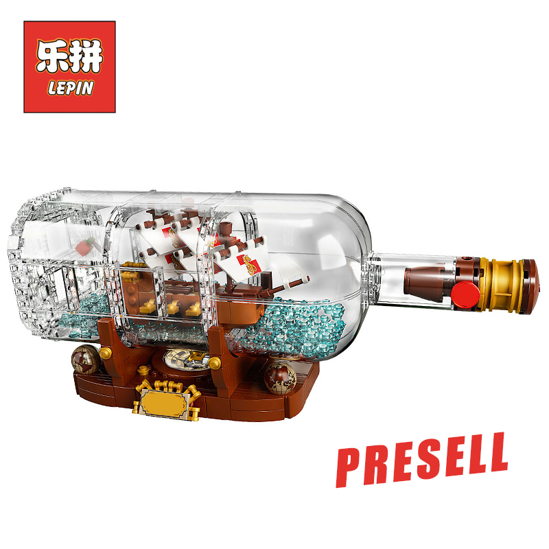 2018 New Lepin 16051 Movie Series the 21313 Ship in a Bottle Set Building Blocks Bricks Creator Toys Kid Children Birthday Gifts lepin 16045 genuine 775pcs creative series the ship in the bottle set building blocks bricks toys model gifts