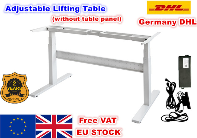 [EU Delivery] Flip Adjustable Height Two-foot Two-section Electric Motor Lift Desk Lift Table Column folding table Black/White