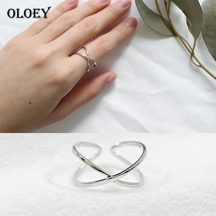 OLOEY Contracted Simple Adjustable Finger Rings 100% Real 925 Silver X Hollow Cross Open Ring Jewelry For Women Girls YMR078