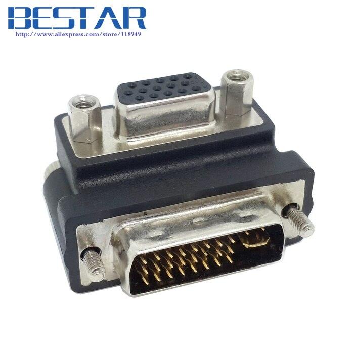 Down Right Angled 90 Degree VGA SVGA Female To DVI 24+5 Male DVI To RGB Adapter Vga Dvi Connector Adapter