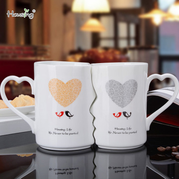 OUSSIRRO 2Pcs/Set Couple Cup Ceramic Coffee Kiss Mug Creative Valentine's Day Wedding Birthday Gift