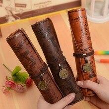 Mapa del tesoro Vintage estuche de rollo para lápices Kawaii estuche de bolígrafo de cuero caja de lápiz de oficina bolsa de cosméticos Linda papelería suministros escolares