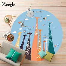 Zeegle Cartoon Animal Painting Round Carpet For Living Room Mats Children Kids Bedroom Rug Welcome Door Anti-Slip Area Mat(China)