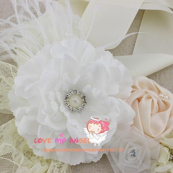 1 stücke Weiß elfenbein blume Schärpe pfingstrose blume schärpe Hochzeit Schärpe Baby Mädchen Schärpe Fotografie Requisiten