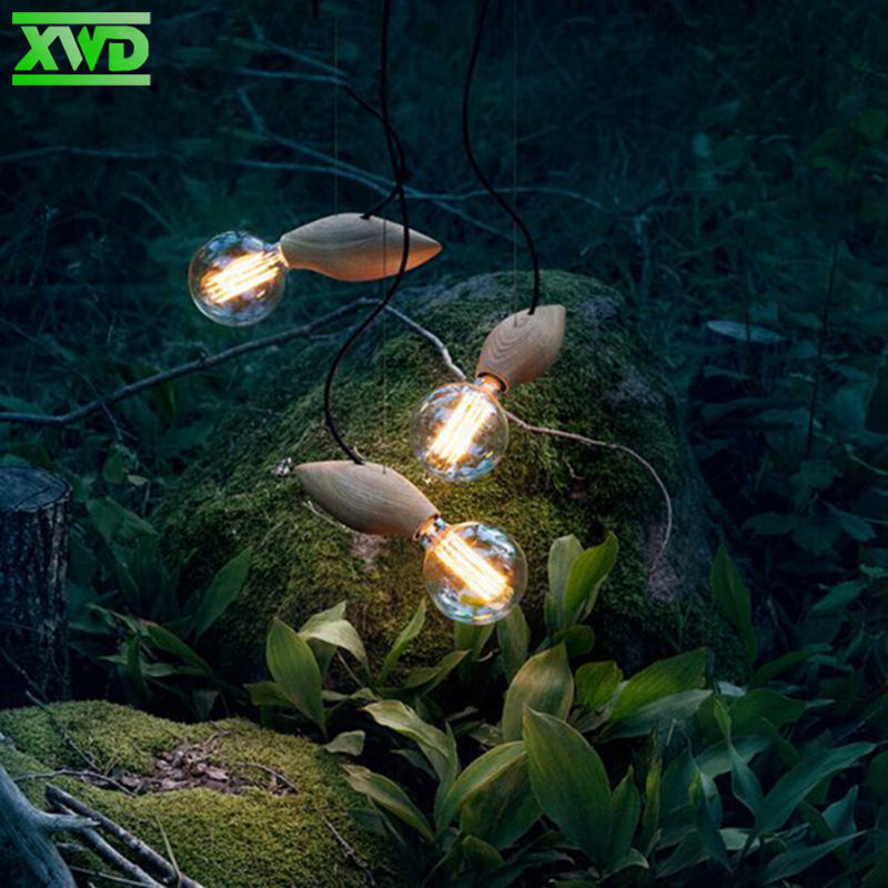 Müasir Taxta Kənd Dəsti Asılı lampa Qəhvəxana / Yemək Zalı / - Daxili işıqlandırma - Fotoqrafiya 3