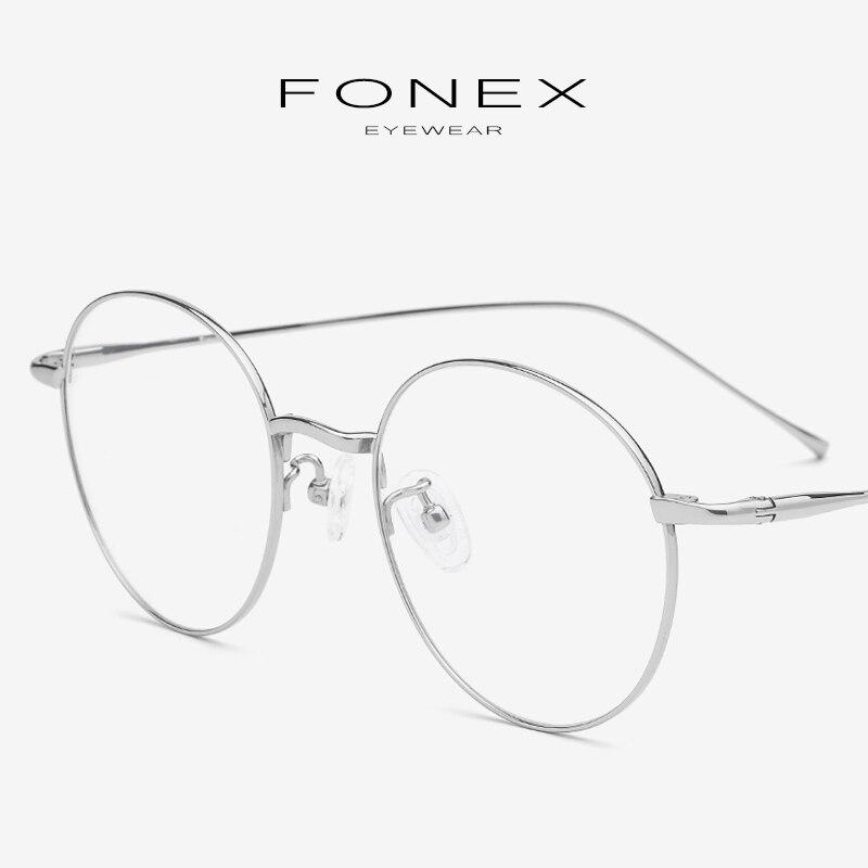Titane pur lunettes cadre femmes Prescription Vintage rétro ronde myopie optique lunettes cadre lunettes pour hommes lunettes 7004