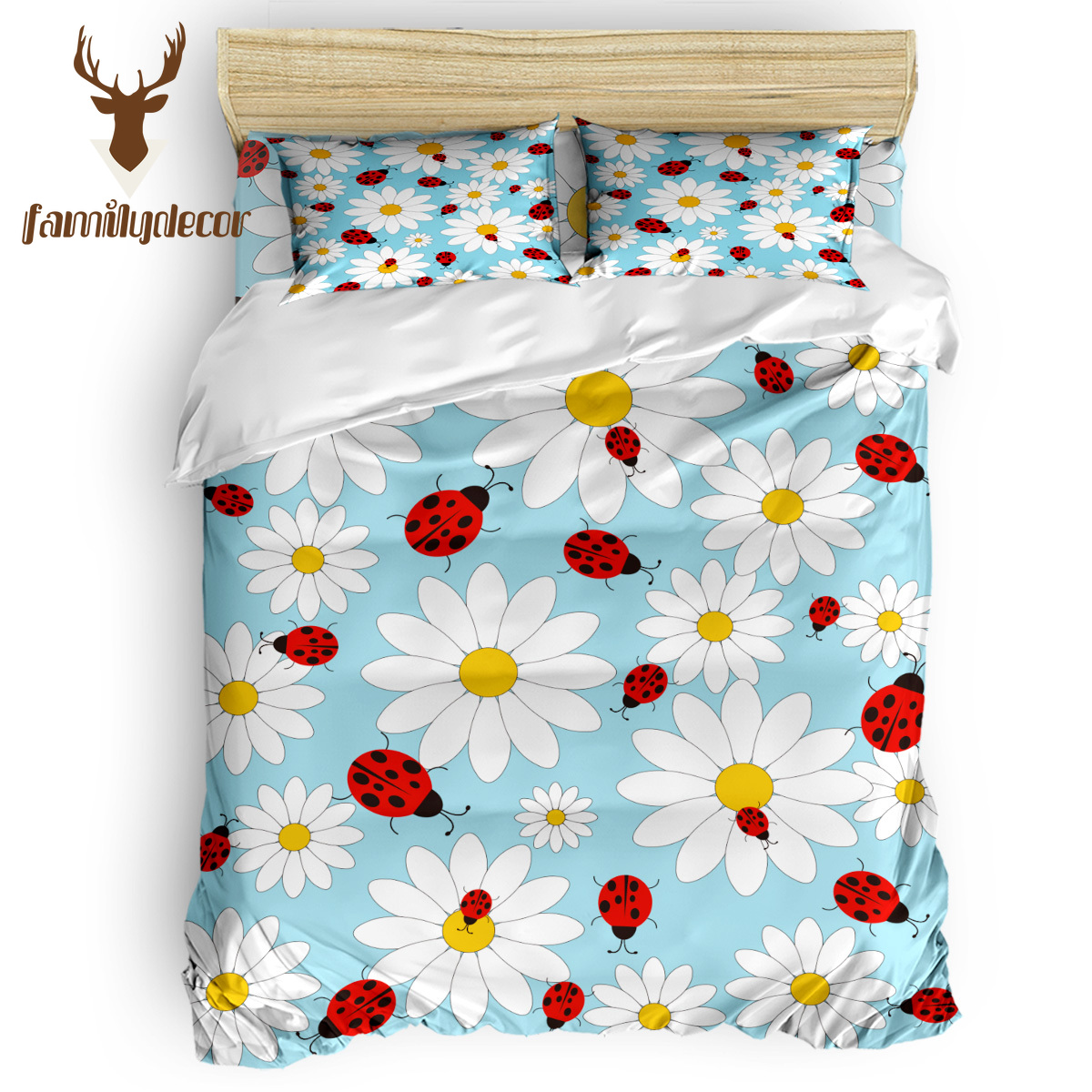 FamilyDecor Ladybug Daisy Bedding Set Luxury Comforter Bedding Sets 3D King Size Red Blue Cotton DHL Free Shipping