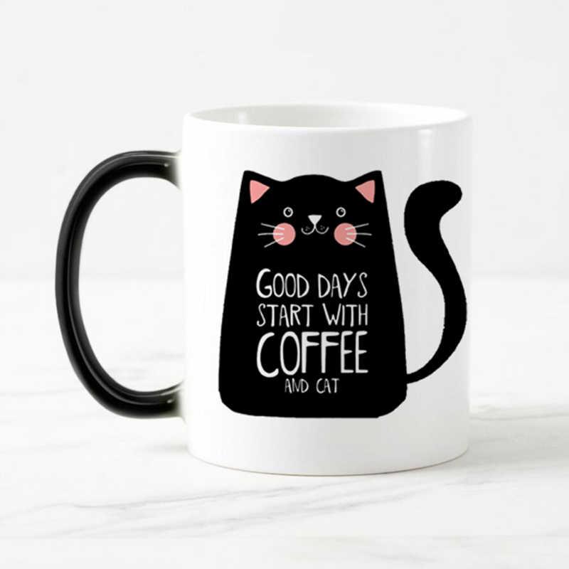 Super fajne kubki dla kota zmienia kolor ceramiczny kubek do kawy i kubek moda prezent ciepło ujawnia magiczne kubki dla przyjaciela