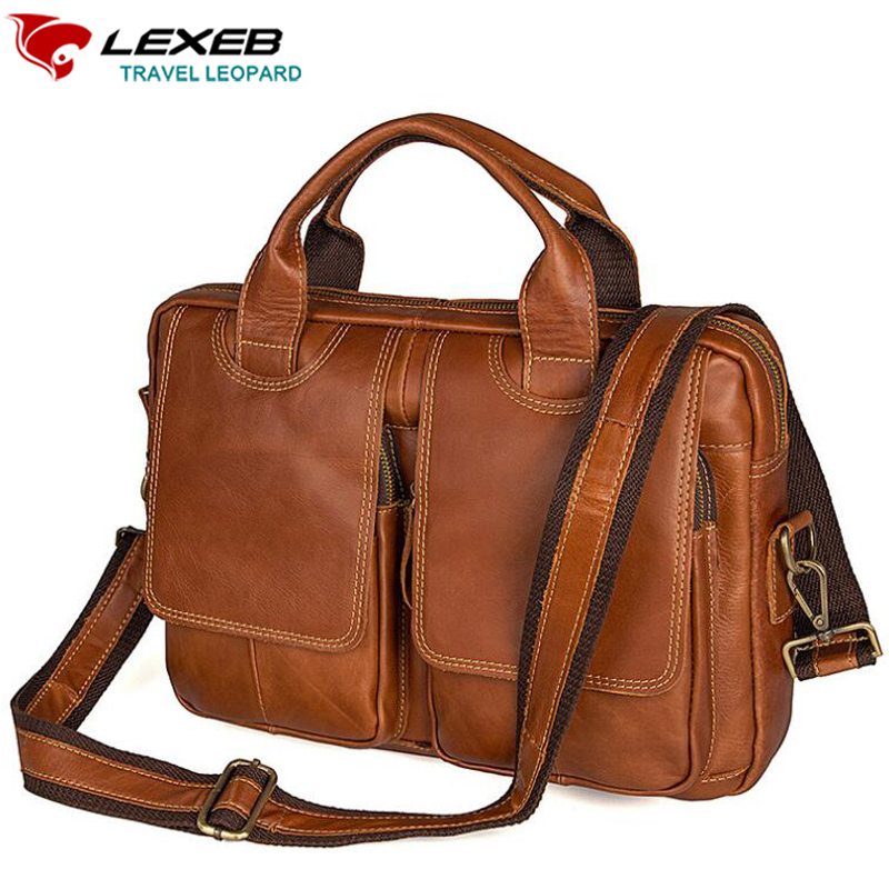 LEXEB Vintage Full Grain Genuine Leather Briefcases For Men European And American style Messenger Bags 13.3 Laptop Bag In Brown european and american 2017 new lychee grain 100