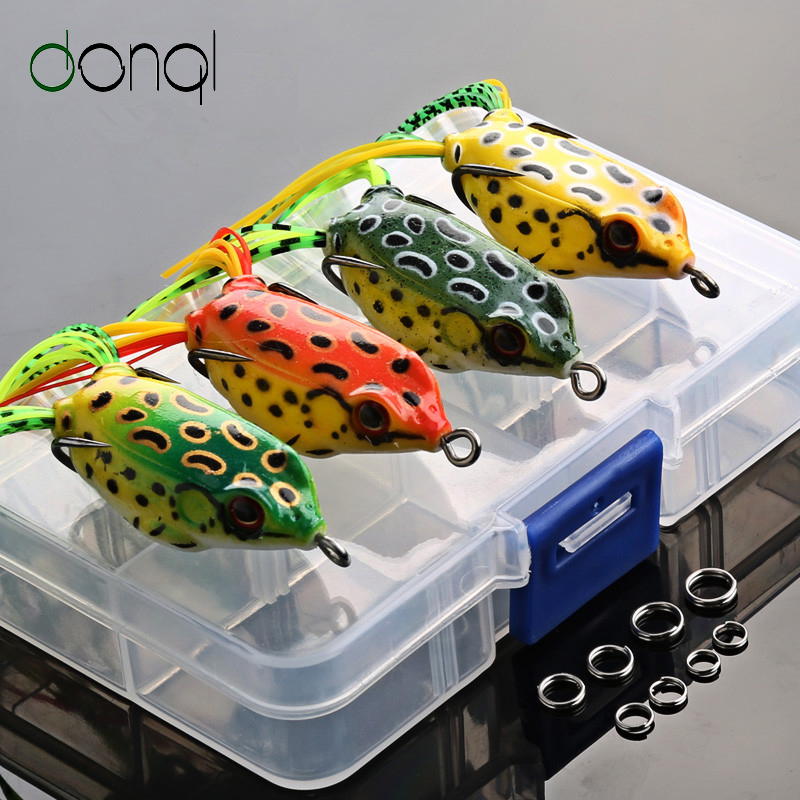DONQL 4pcs/Box Fishing Lures Double Hooks 6g 9g 13g Top Water Ray Frog Fishing Tackle