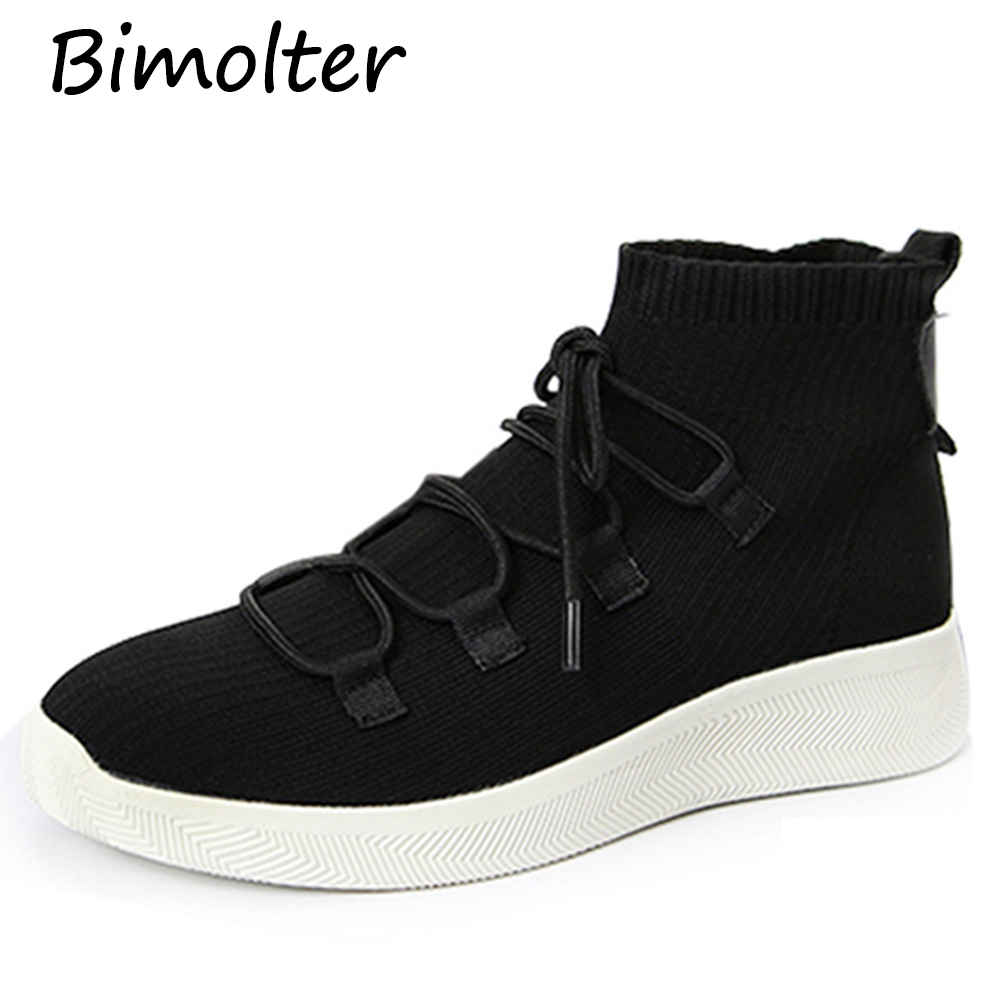 Bimolter 2018 Spring Autumn Woemn Fashion Cross-tied Knitting Flats Female Casual Soft Shoes Women Lightweight Sneakers PFEB038