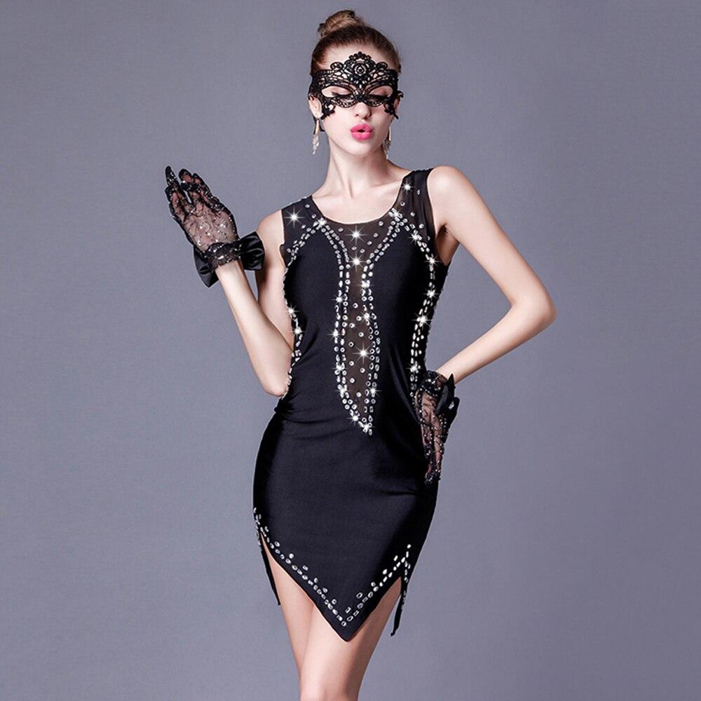 2017 Sexy Ladies Latin Dance Dress 1 Piece For Model Women Black Crystal Elastic Salsa Stage Show Night Club Party Dancer DW1058