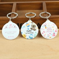 Personalized logo photo custom photo keychain with Mirror Christening Baptism baby shower souvenirs kids birthday party favor