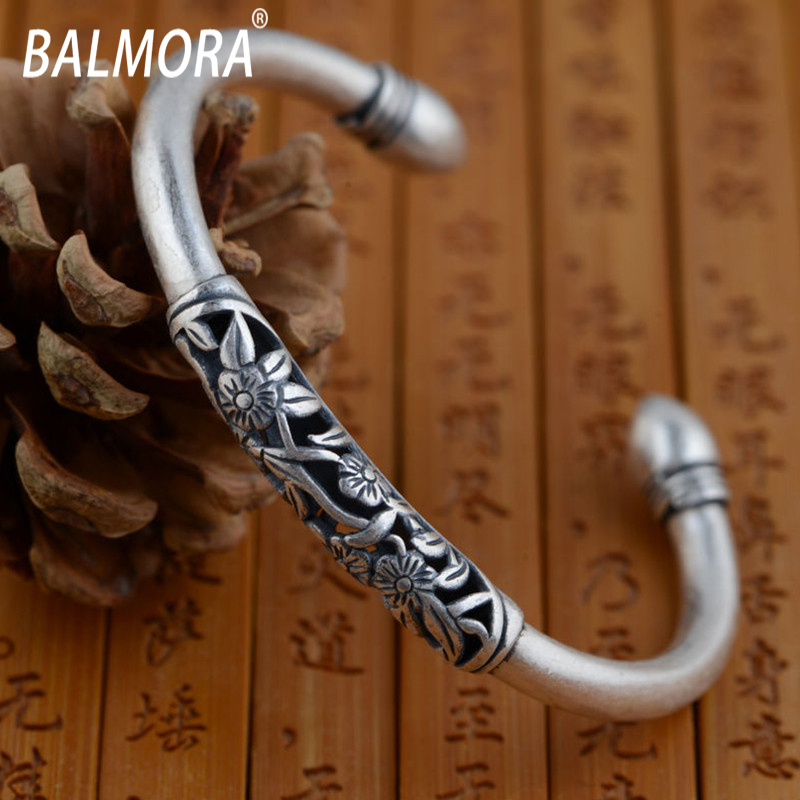 BALMORA 100% real 990 pure silver jewelry exquisite retro flower bracelets bangles for women accessories best gift SY50123-Y