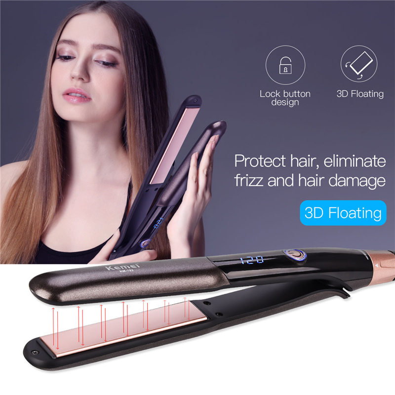 Professional Hair Straightener Tourmaline Ceramic Heating Plate with 5 Temperature Level and Travel Lock Straightening Irons 33