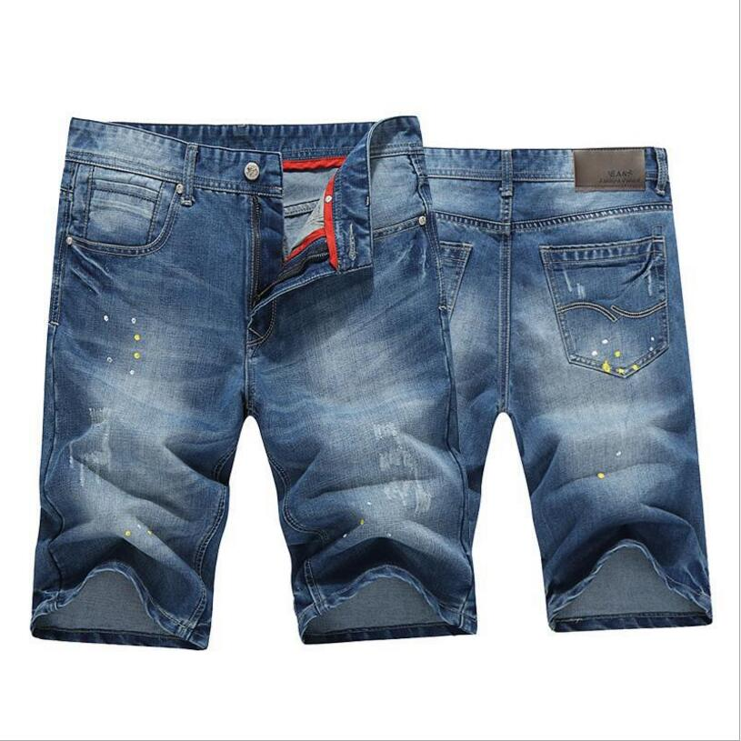 Men Blue Short Jeans New Summer Male Denim Shorts Good Quality Men Cotton Straight Denim Shorts Knee Length Jeans