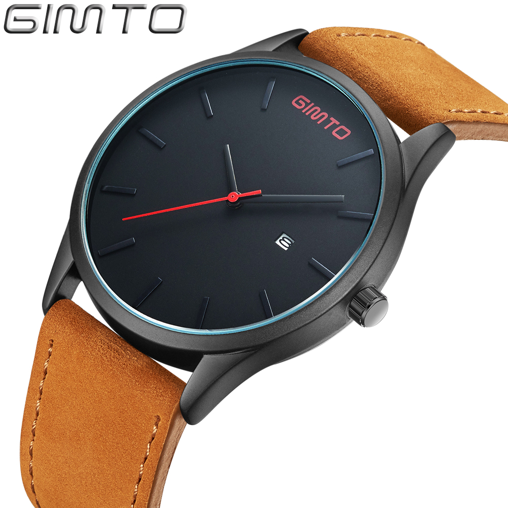 GIMTO Men Watches Fashion Leather Waterproof Quartz Wrist Watch Top Brand Luxury Men Clock Male Watch