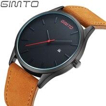 Gimto hombres relojes de cuero de moda reloj superior de la marca de lujo de los hombres reloj de cuarzo resistente al agua reloj masculino relojes hombre saat