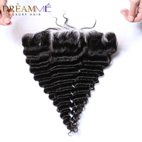 Dreamme Queen Hair Pre Plucked Deep Wave Lace Frontal Closure 13x4 Peruvian Remy Human Hair Frontal With Baby Hair Natural Line
