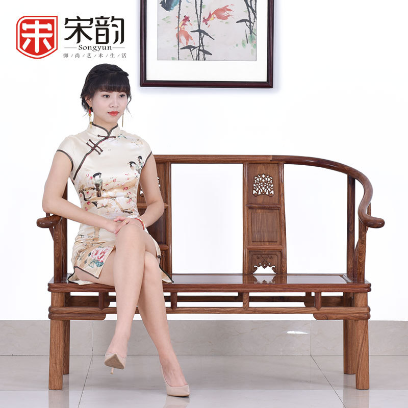 Song Yun Chinese Antique Mahogany Furniture, Rosewood Sofa Chair Backrest Armchair Double Wood Logs