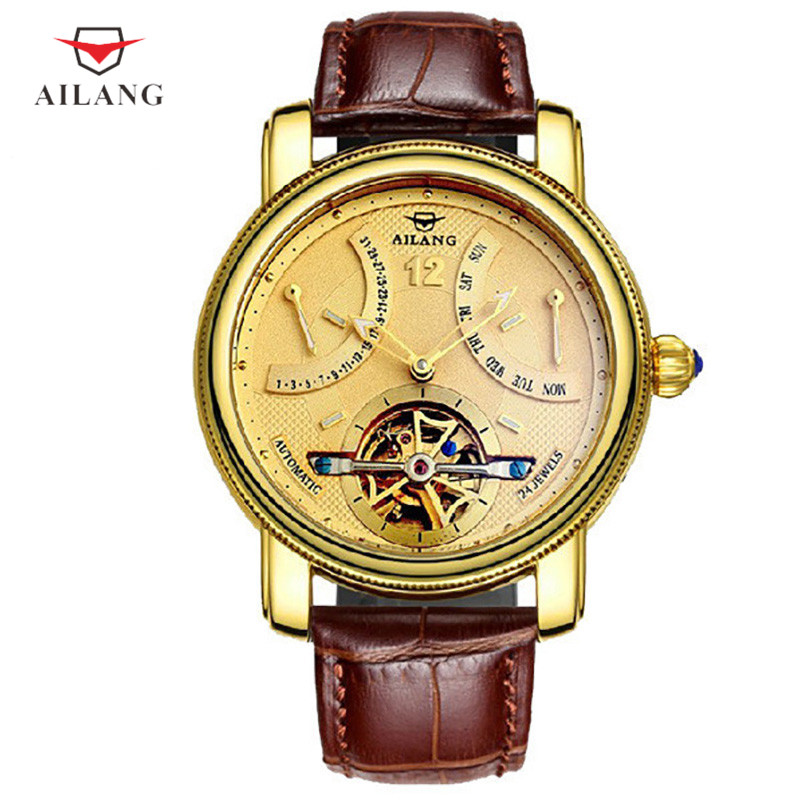 AILANG Relogio Masculino Week Mechanical Watch Top Brand Luxury Tourbillon Automatic Mens Watch Gold Skeleton Wristwatch A033 2018 ailang sapphire automatic mechanical watch mens top brand luxury waterproof brown genuine leather watch relogio masculine
