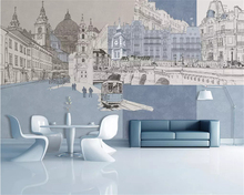 beibehang Modern fashion classic papel de parede wallpaper simple hand-painted urban architecture background decorative painting