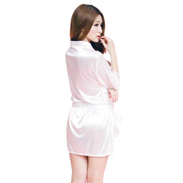 Ice silk Sleepwear Women Fashion Classic Bathrobe