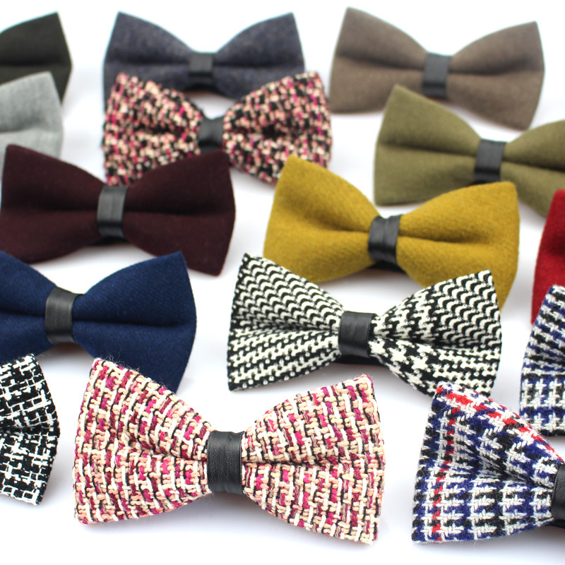 New Wool Bowties For men High Quality Brand Casual Plaid Bow Tie Solid Mens Necktie for Wedding Cravats Neckwear