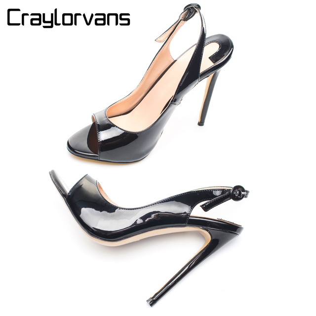 3f49db157e54 Craylorvans Fashion Buckle Summer Women Sandals Nude Black Patent High Heel  Sandals Women Sexy Pep Toe Sandals Big Size Shoes 46