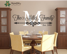 Family Name Custom Wall Decal - Personalized Family Monogram Living Room Decor Established Date Vinyl Wall Sticker NY-441 personalized initial letter wall decal monogram room decor cinderella carriage princess design wall sticker home decor ay0102