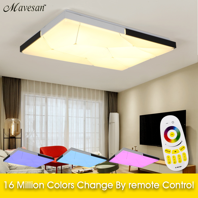 LED Ceiling Light Modern Lamp for Living Room Square Lighting Fixture Bedroom Kitchen Hall Surface Mount Flush Remote Control modern acrylic led chandelier lamp flush mount chandeliers light remote control home lighting fixture for living dining room