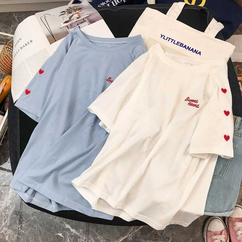Women Summer T shirts Cotton Harajuku Kawaii Embroidery Short Sleeve Ulzzang Streetwear camisetas verano mujer Kpop Style Tops