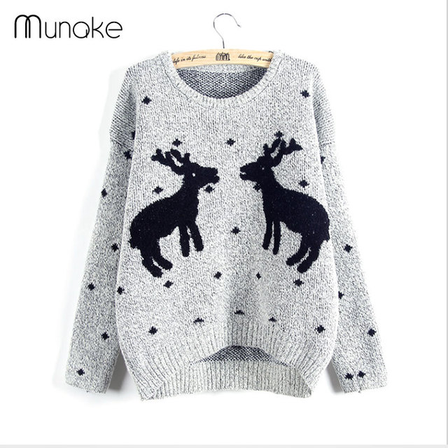 Women Ugly Christmas Sweater with Deer Printed Lovely Korean Female Winter Sweater Thicken knitted cotton jumper pullover