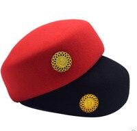 Yetişkinler havayolu hostes kap müzik kap honor guard hat otel resepsiyon üniforma kap donanma şapka performans kap garson şapka
