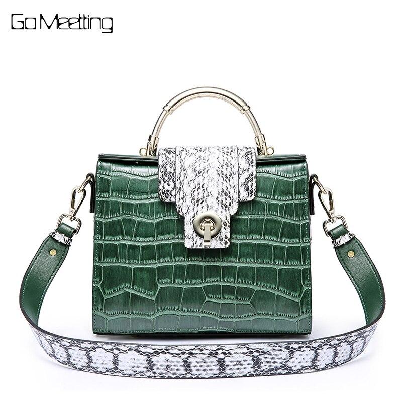 5b667430458 US $46.08 52% OFF Go Meetting Brand Crocodile Women Shoulder Bag Luxury  Elegant Top Handle Bags Brand Designer Handbags Genuine Leather Female  Bag-in ...