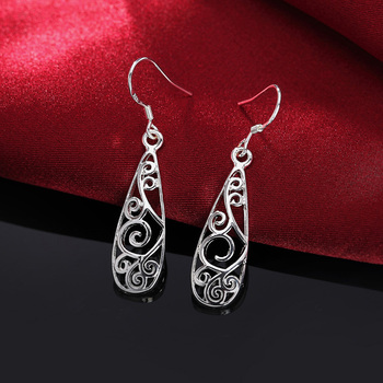 Christmas gift hot silver color Retro charms women Lady flower stud , earring jewelry best gift lowest price LE018 3