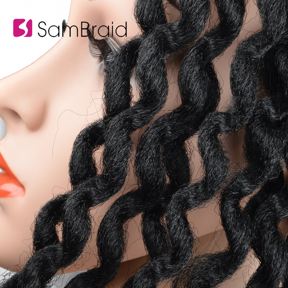 SAMBRAID Faux Locs Curly Crochet Hair Crochet Braids 24 Inch Braiding Hair Extensions Synthetic Hair For Women in Curly Dreadlocs from Hair Extensions Wigs