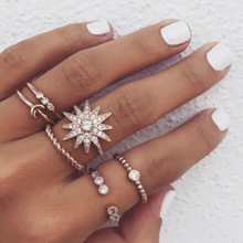 6 Styles Women Bohemian Vintage Crown Wave Flower jewelry personality full of stars moon ring set new cross-border accessories